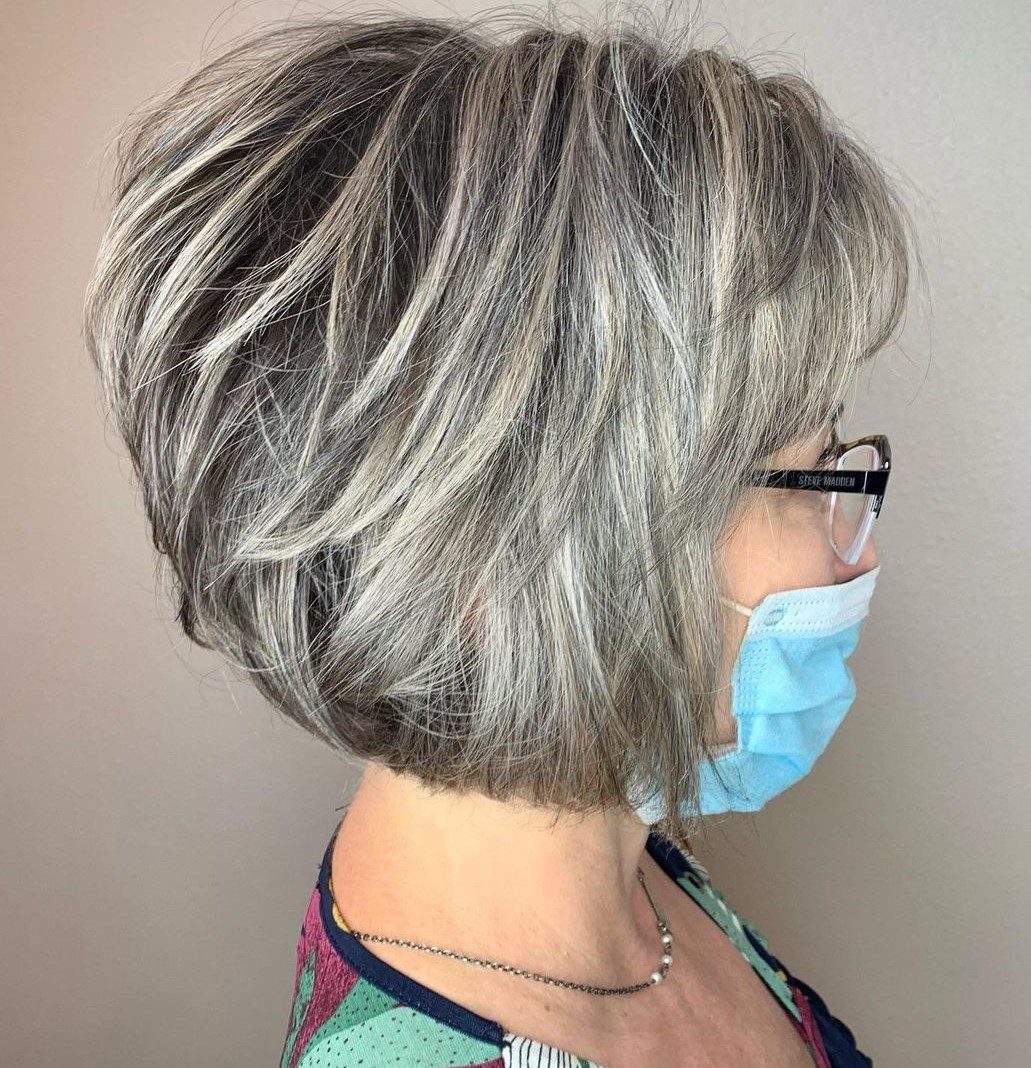 Gray Bob with Highlights and Lowlights