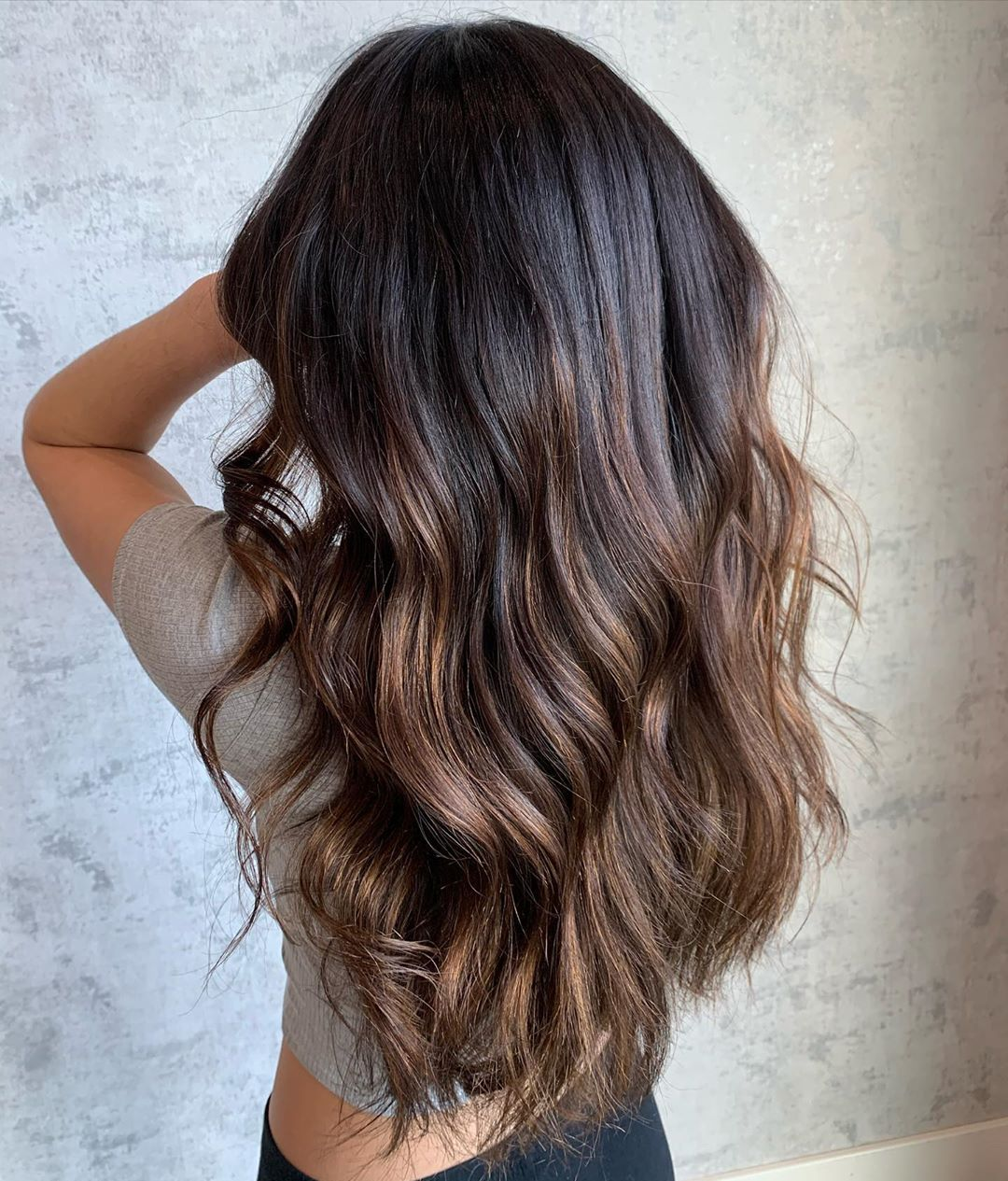 Brown Ombre with Black Roots