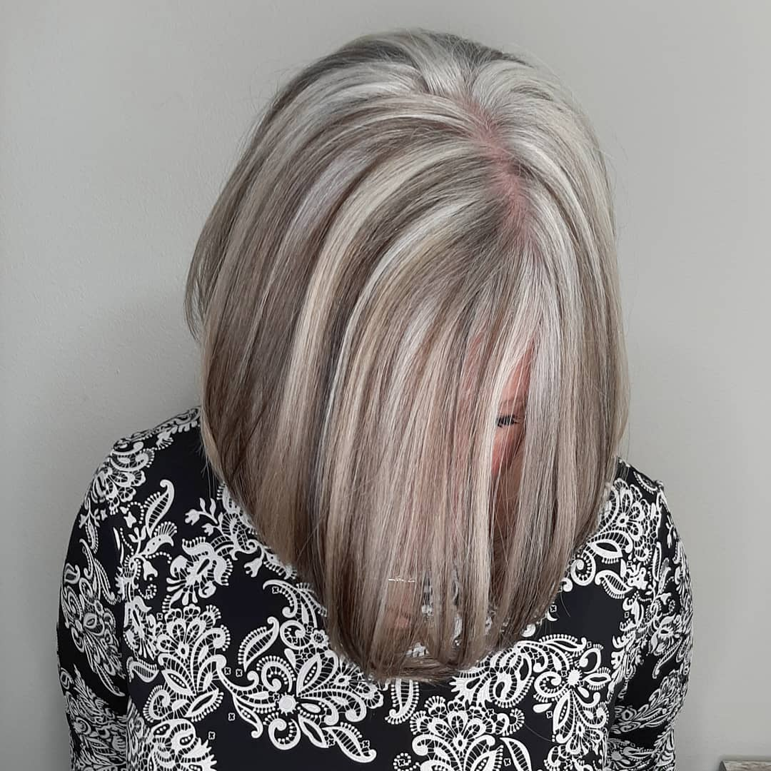 Gray Hair Transition with Highlights