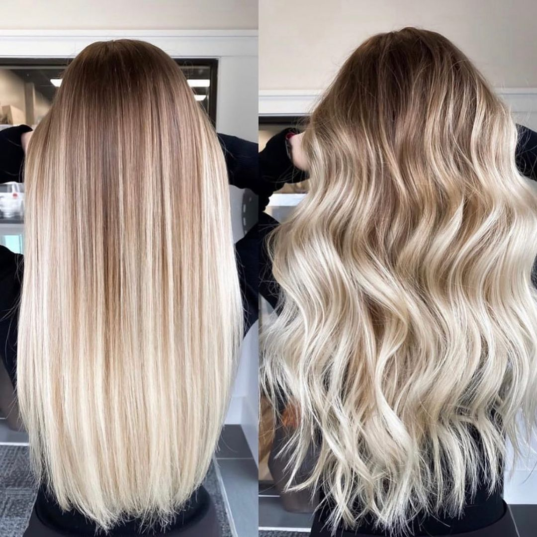 Long Blonde Hair with Wet Balayage