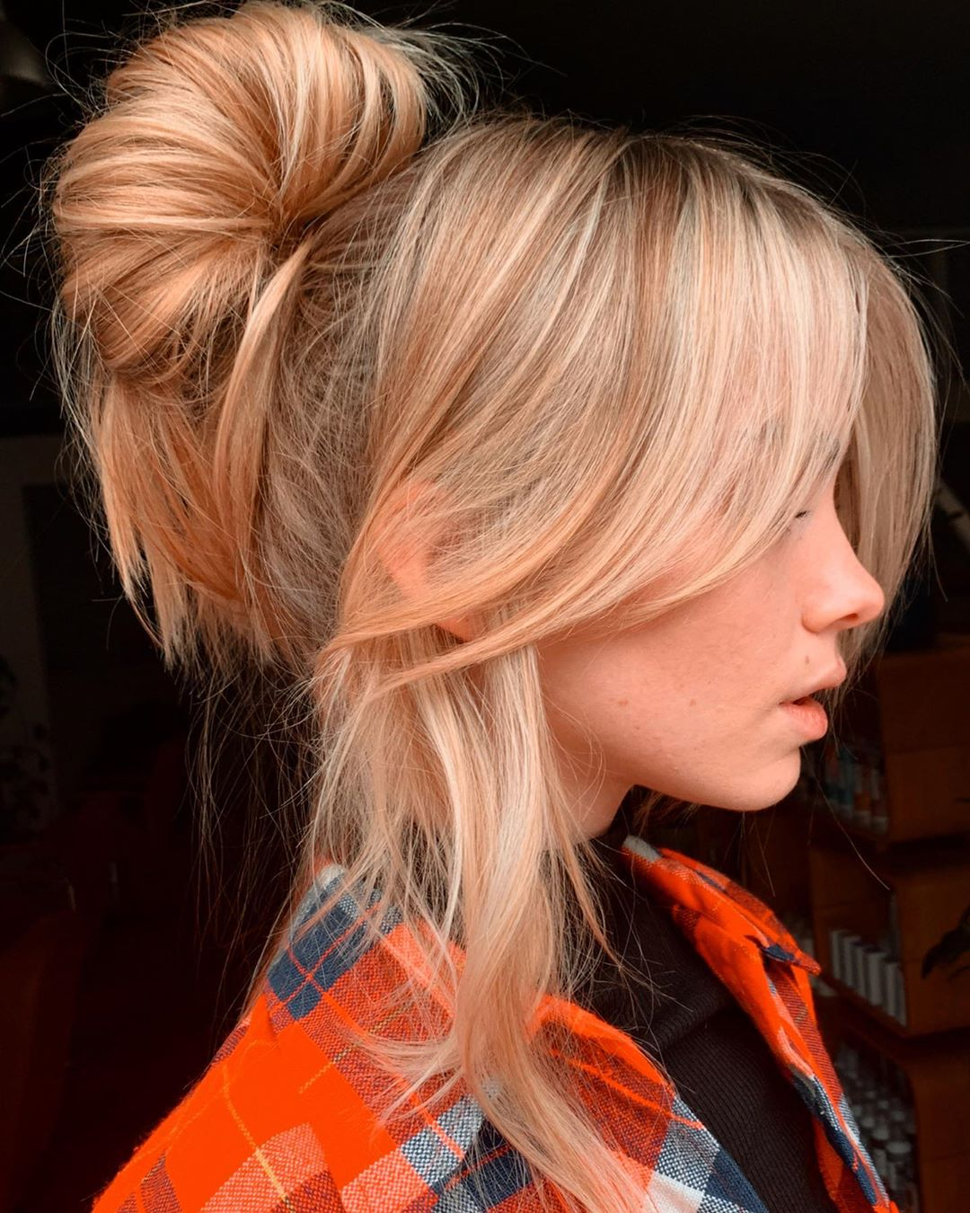 Loopy Bun Updo with Bangs