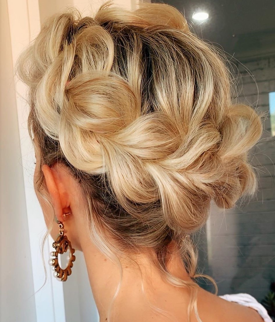 Updo with a Messy Halo Braid