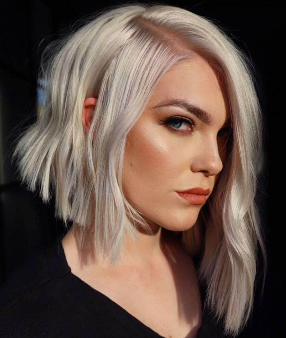 Edgy Asymmetrical Platinum Blonde Hair