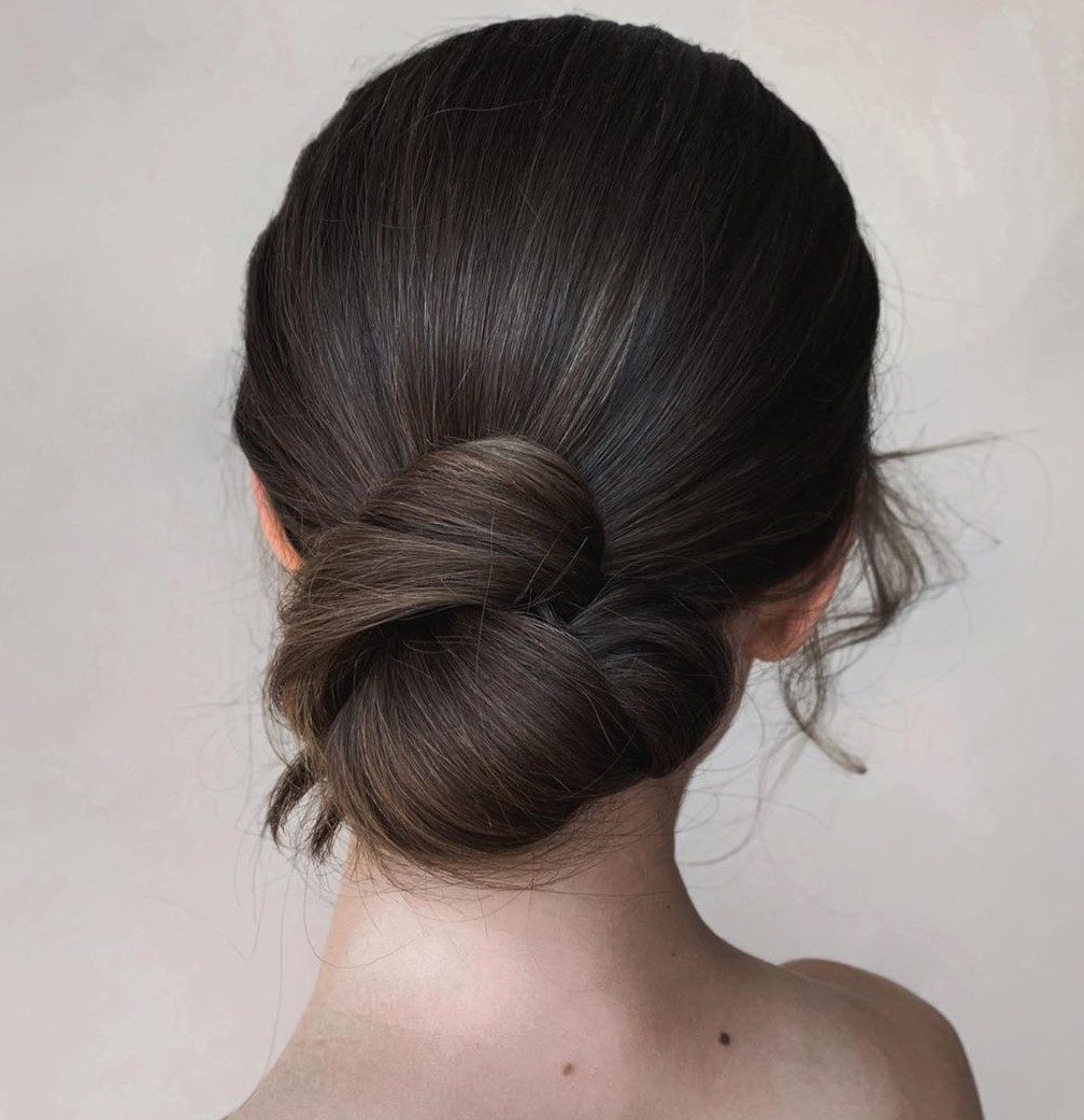 Low Knot Straight Hair Updo