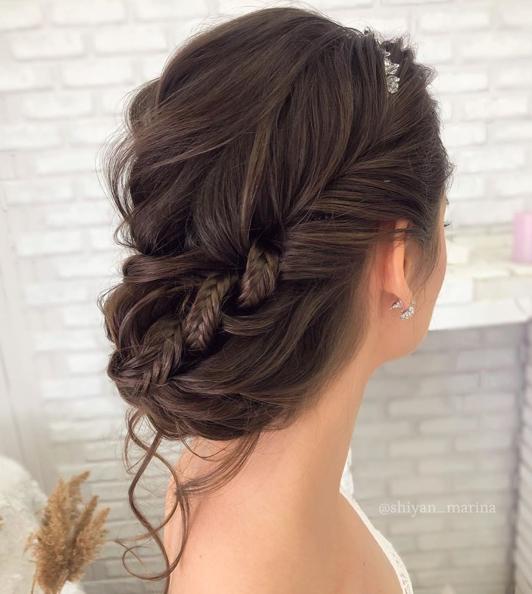 Messy Loose Updo with a Braid