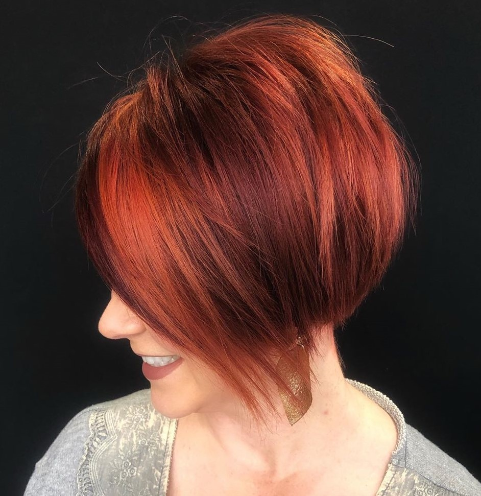 Auburn Pixie with Bright Red Highlights