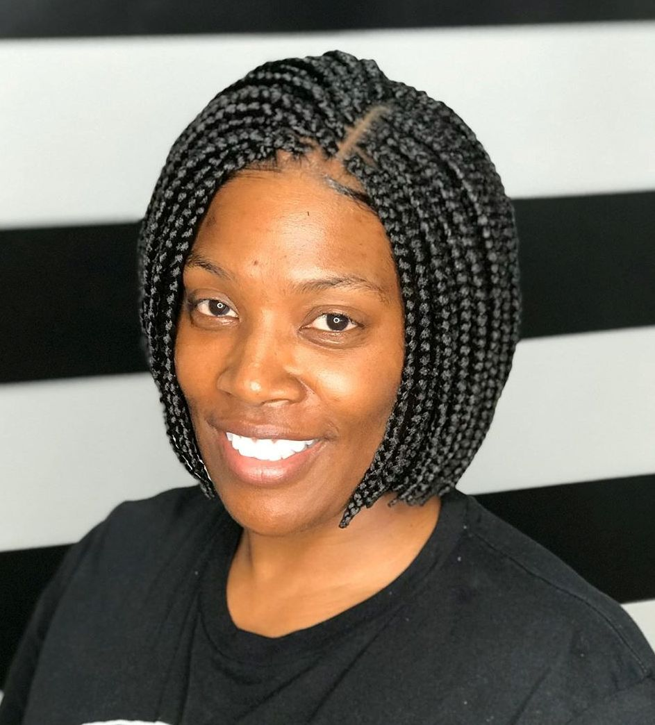 Sporty Chin-Length Box Braids