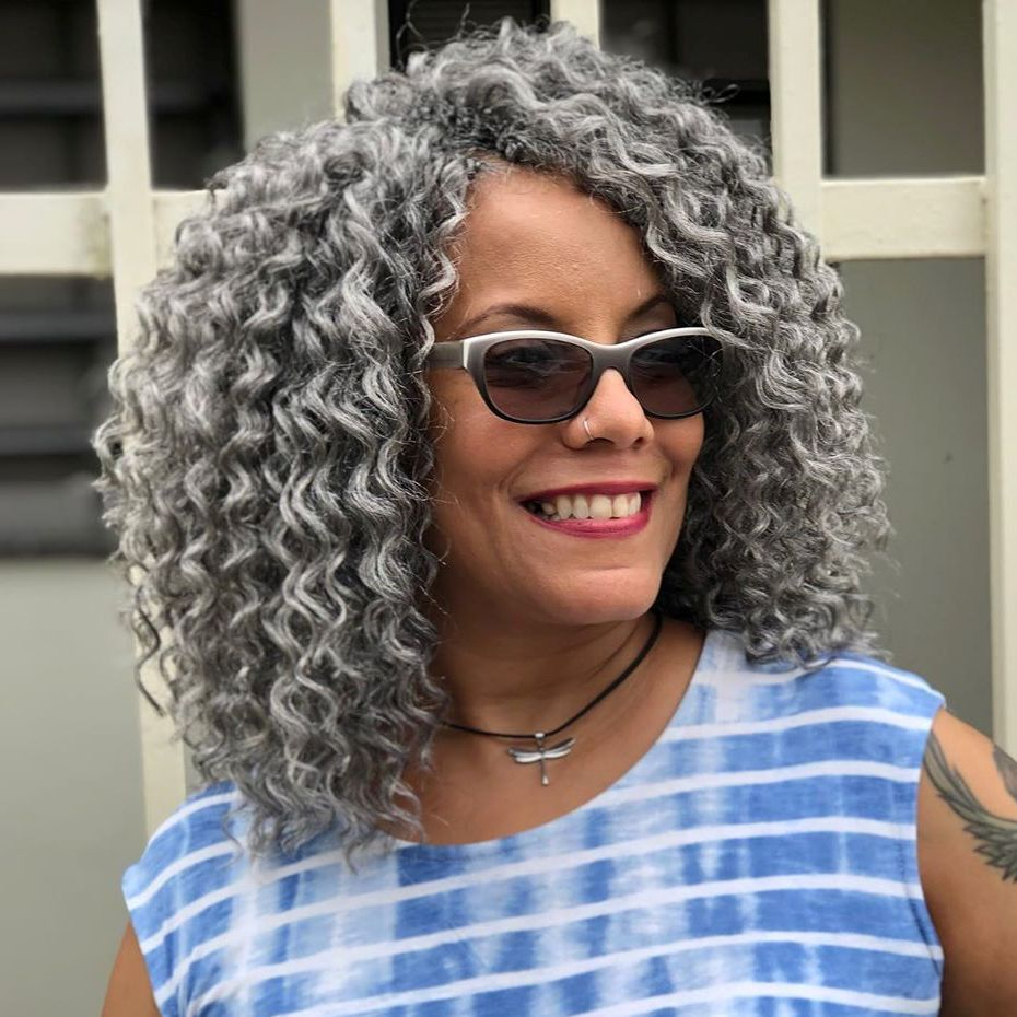 Edgy Gray Curly Crochet Hairstyle