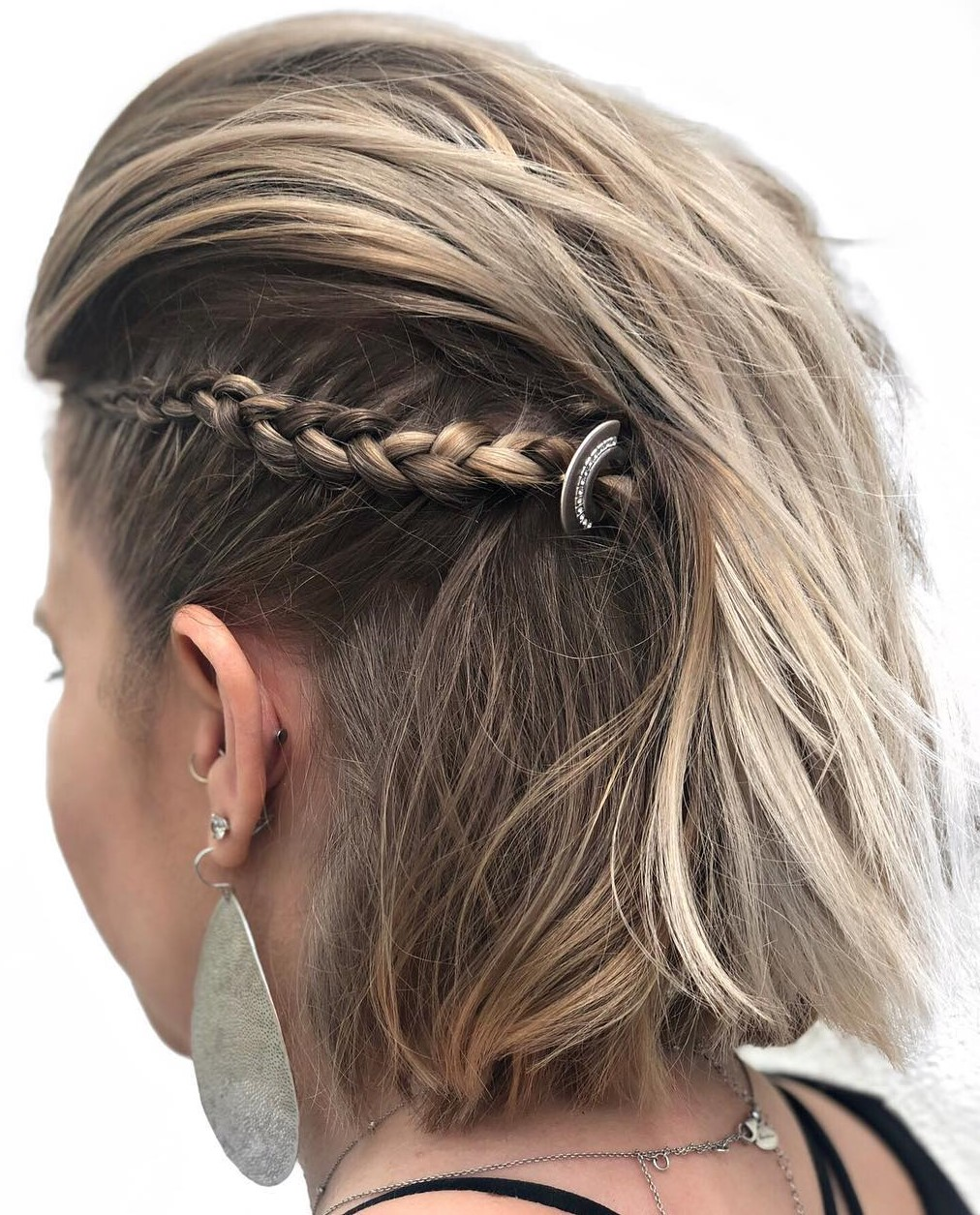 Short Hair Half Updo with a Side Braid