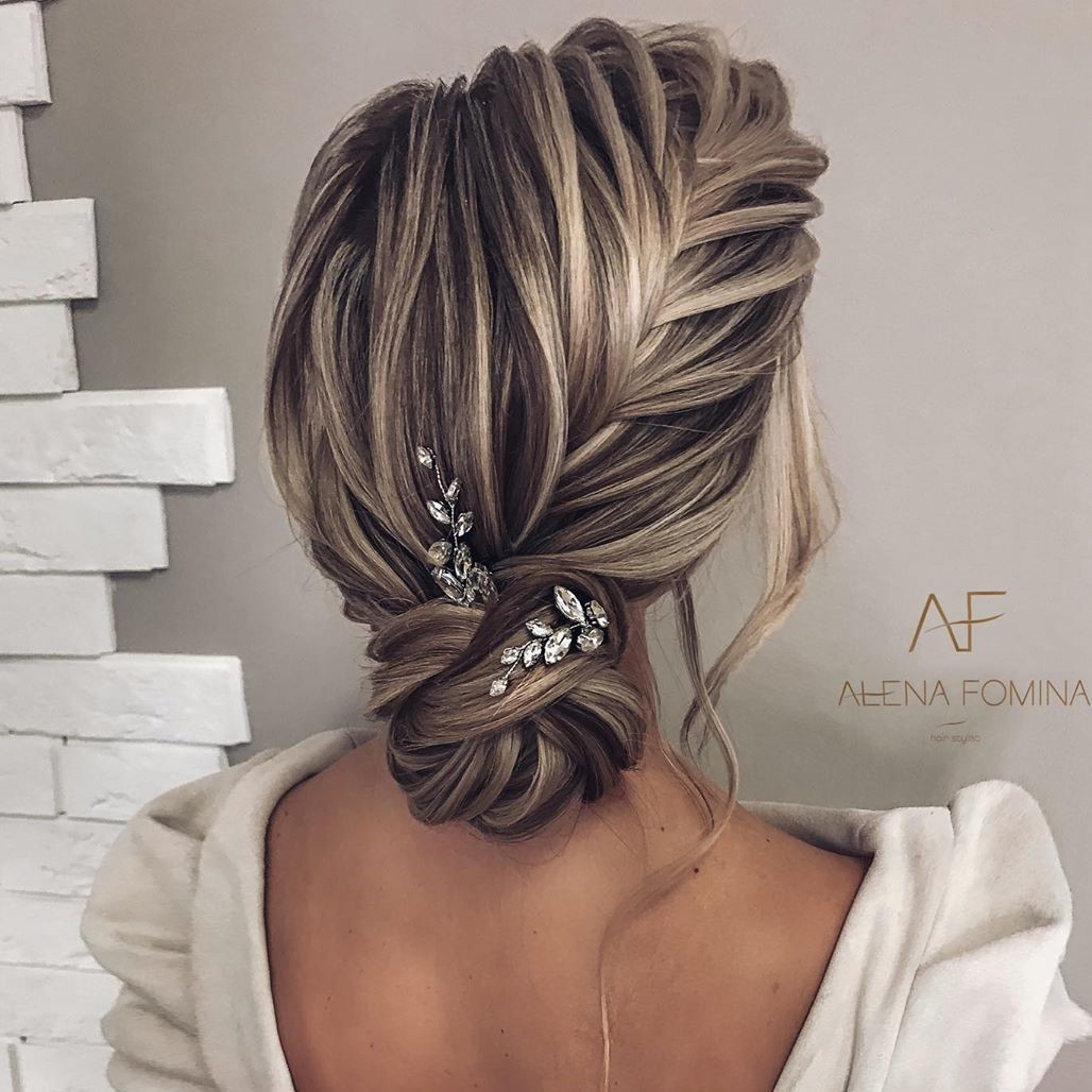 Asymmetrical Updo with a Fishtail