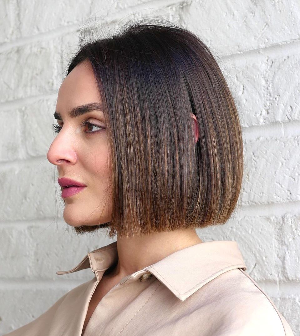 Dark Hair Color Idea for Short Hair