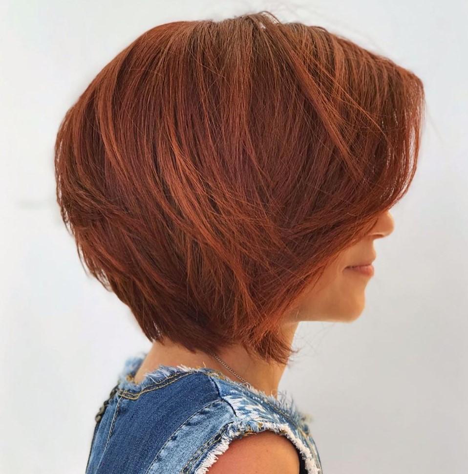 Short-to-Medium Layered Auburn Hair