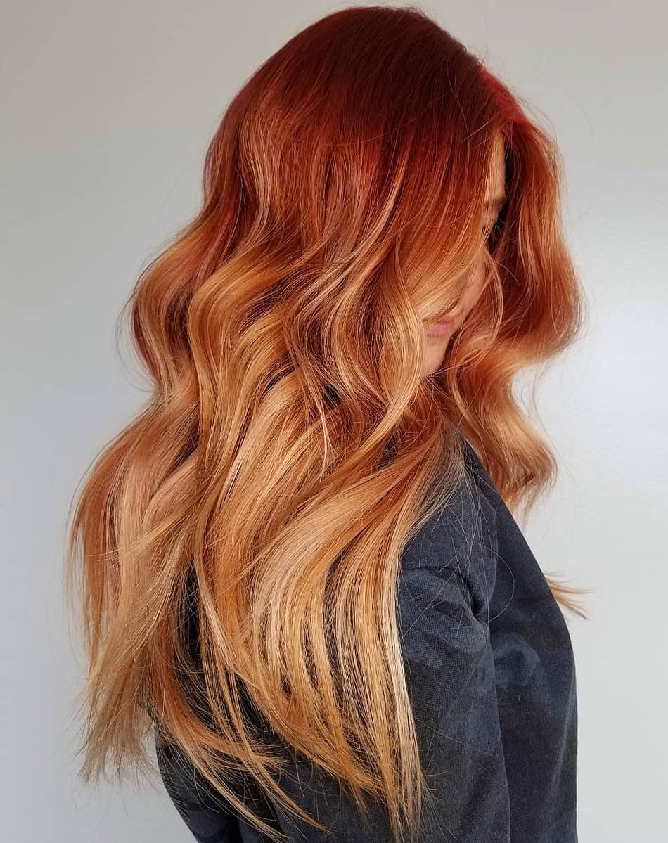 Bright Auburn Hair with Balayage Highlights