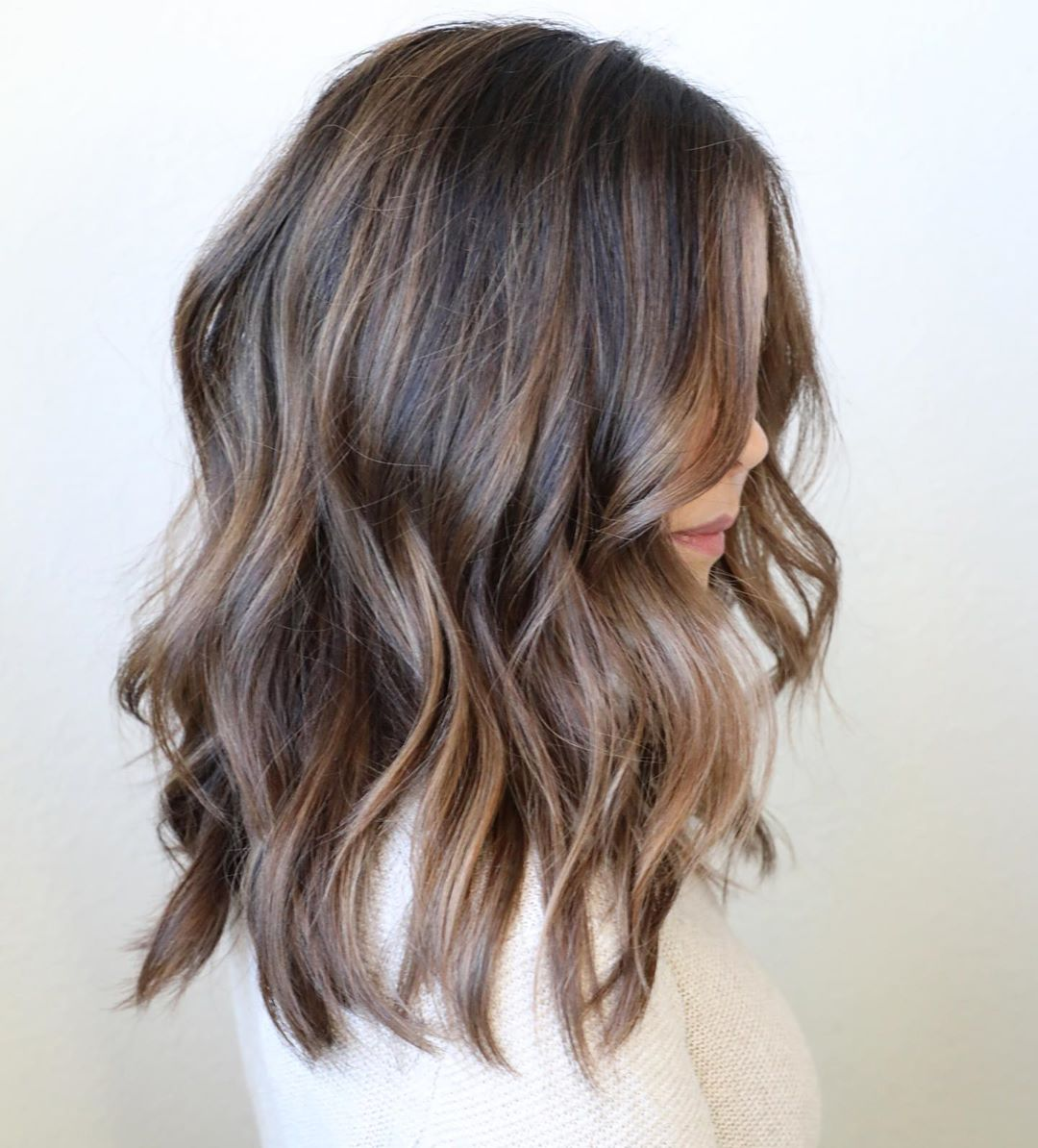 Brown Hair with Honey Highlights