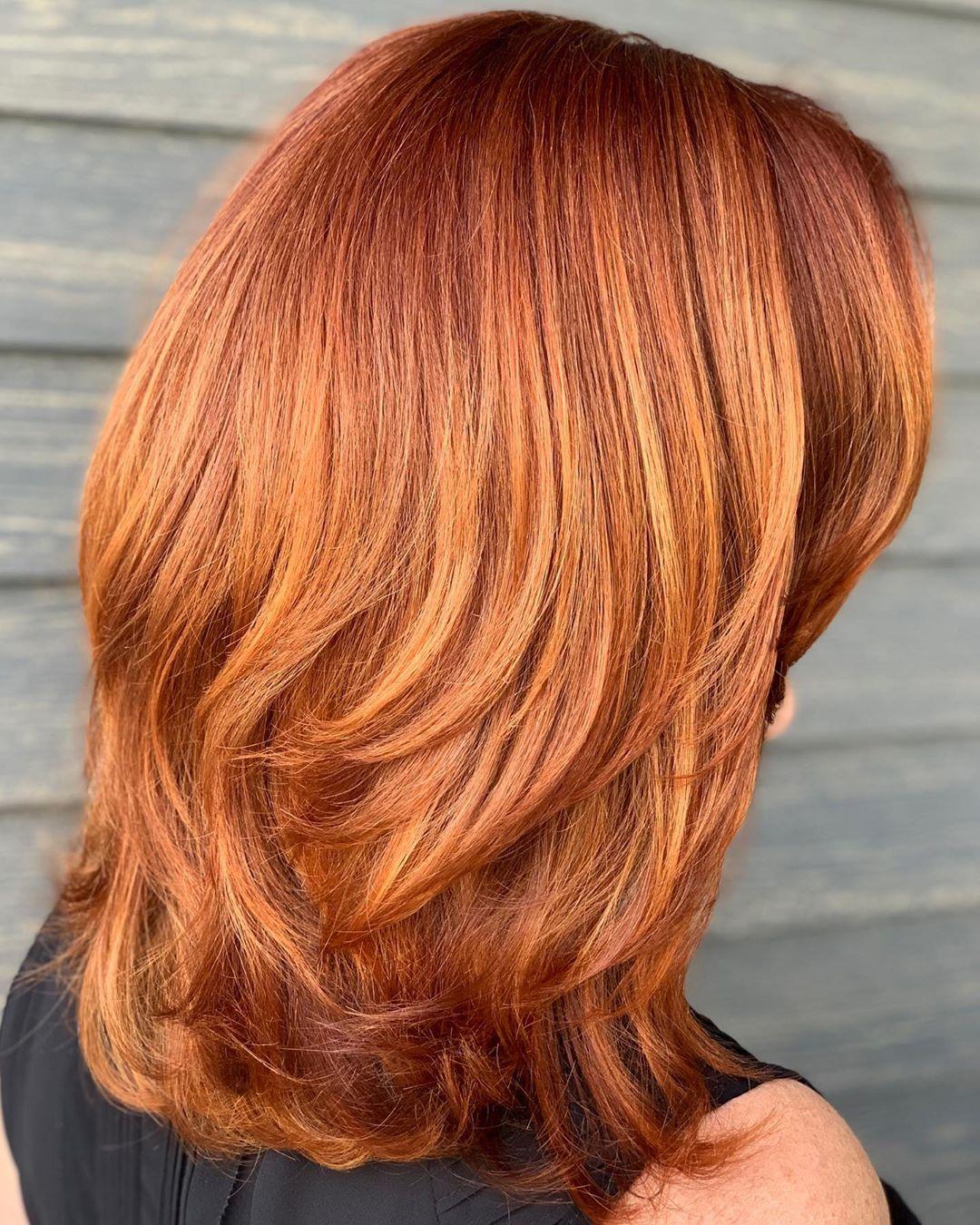 Auburn Hair with Orange Highlights