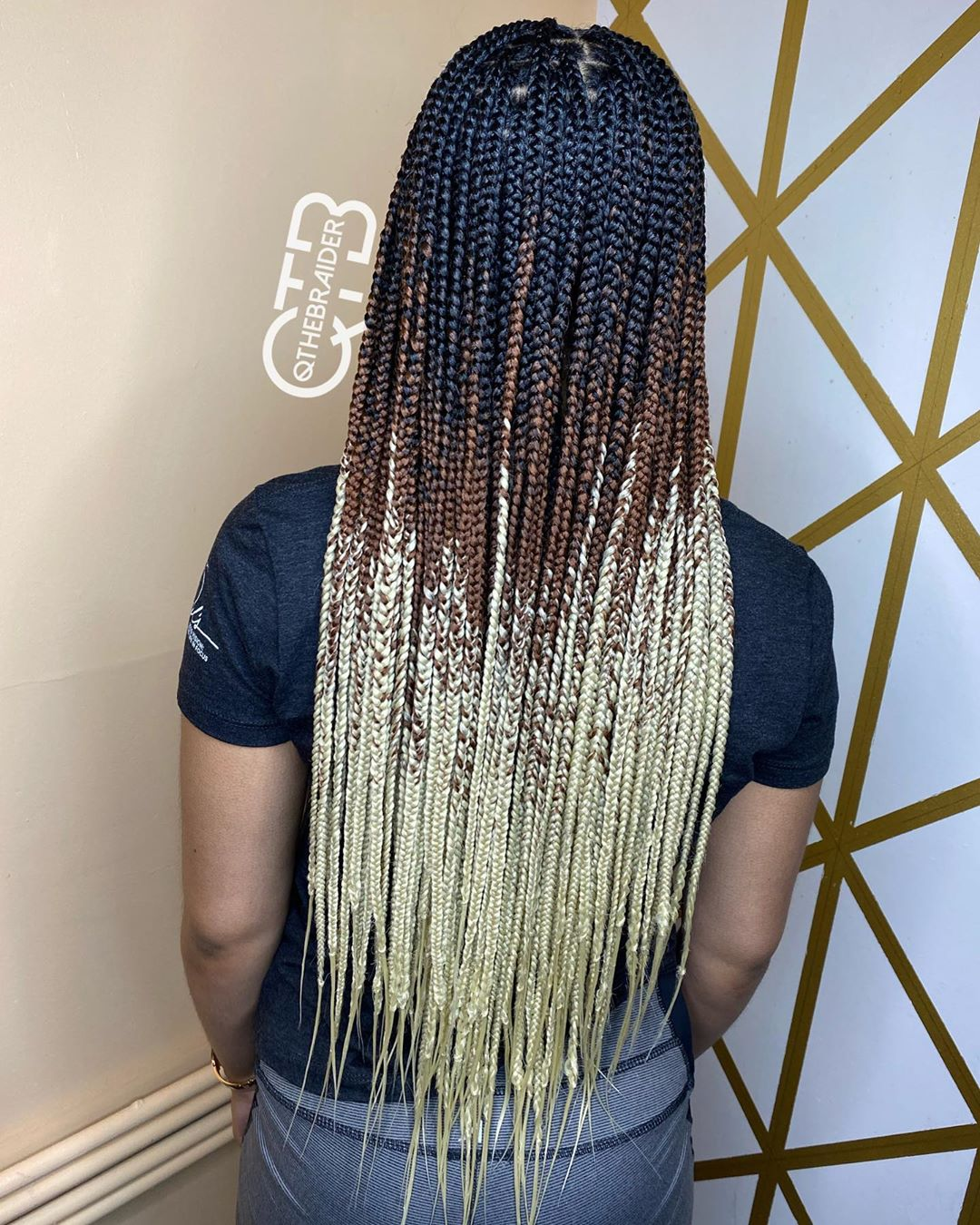 Black-to-Blonde Ombre Braids