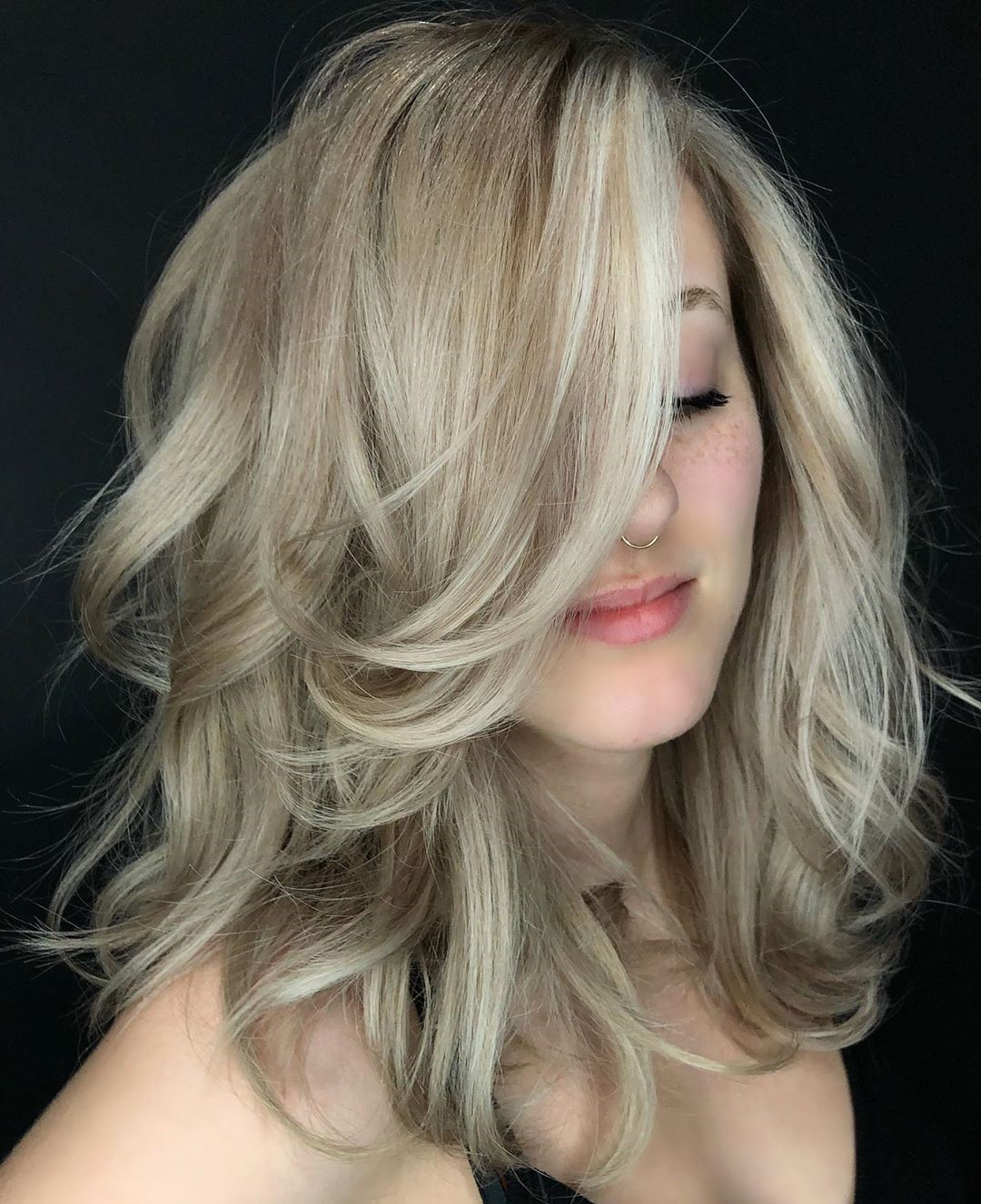 Cool Gray Blonde Hair with Lowlights