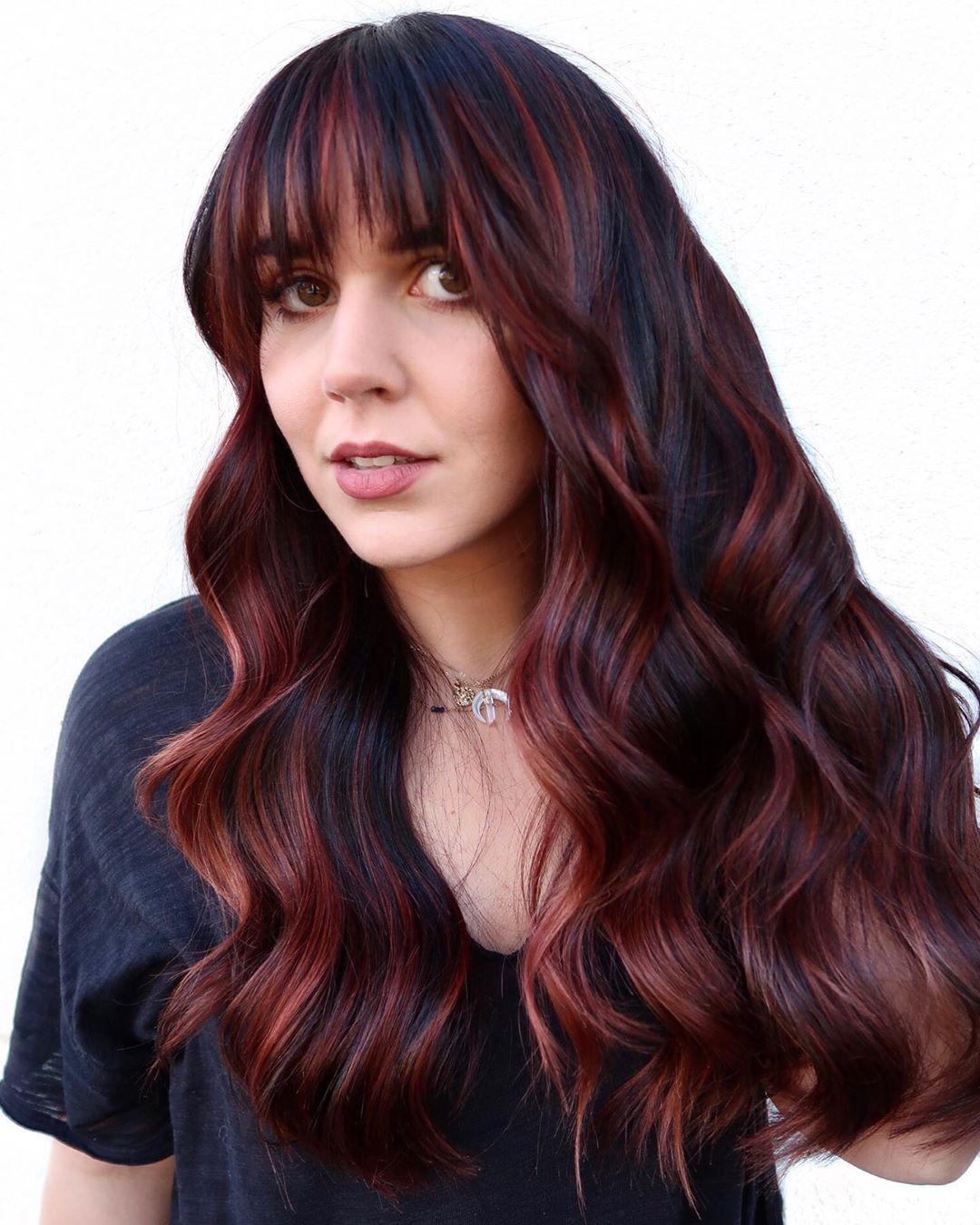 Plum Red Highlights for Black Hair