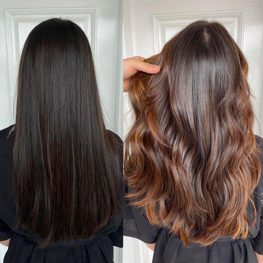 Dark Hair Color with Auburn Balayage