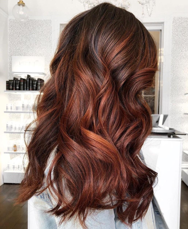Brown Hair with Auburn Balayage