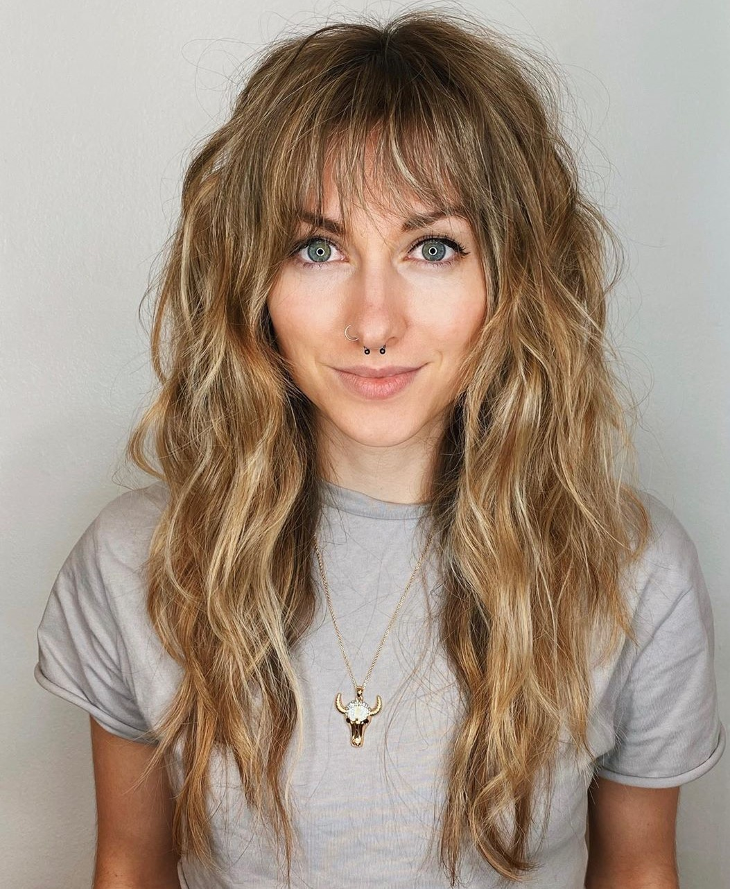 Long Shag Hairstyle with Bangs
