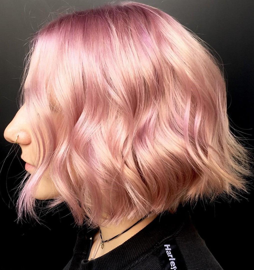 Rose Gold Hair Color for Shorter Hair