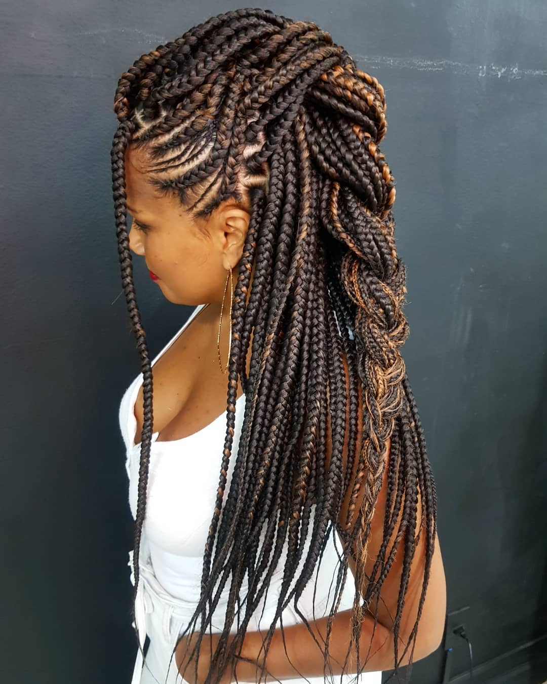 Cornrows and Box Braids Half Updo