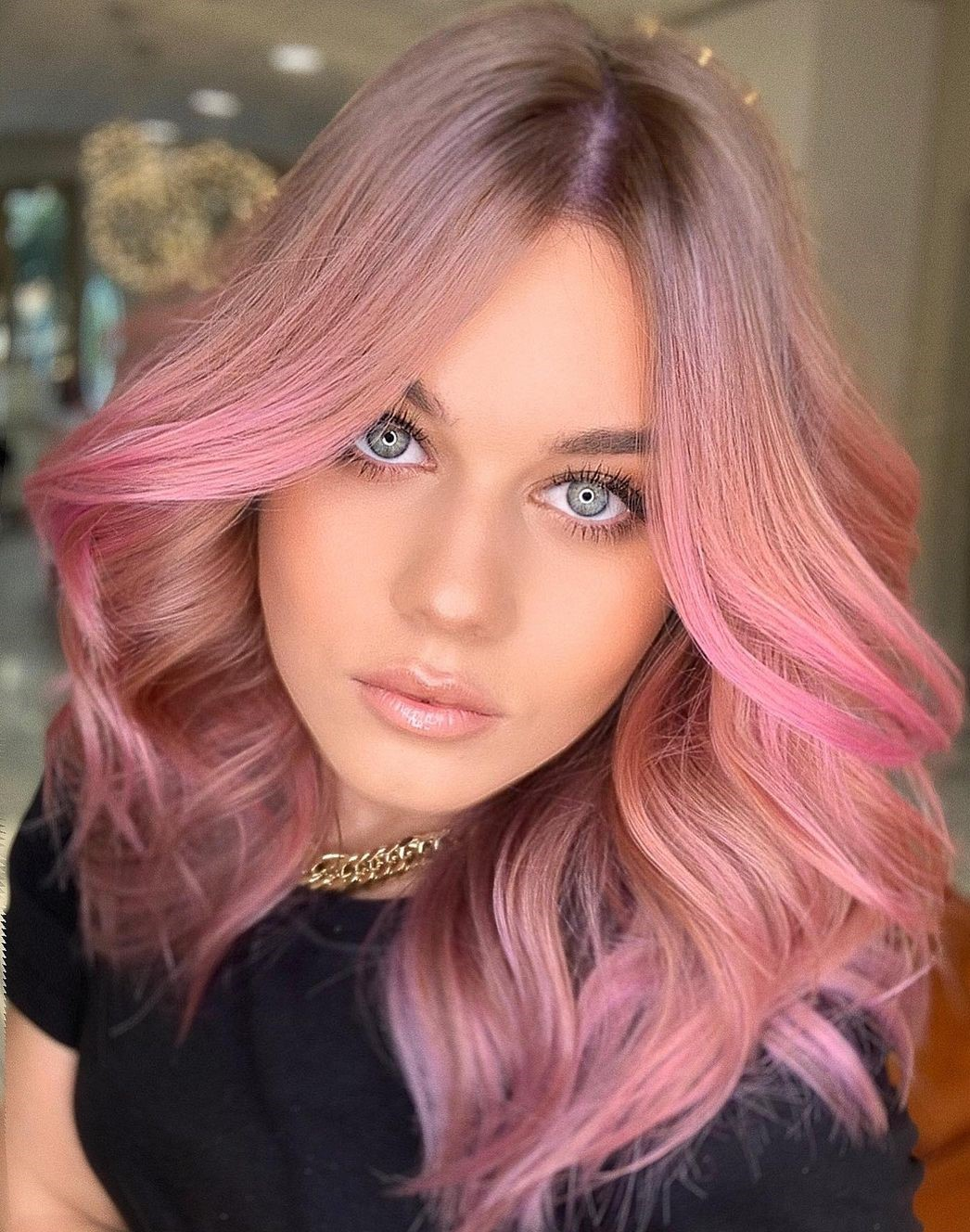 Light Brown Hair with Rose Gold Highlights