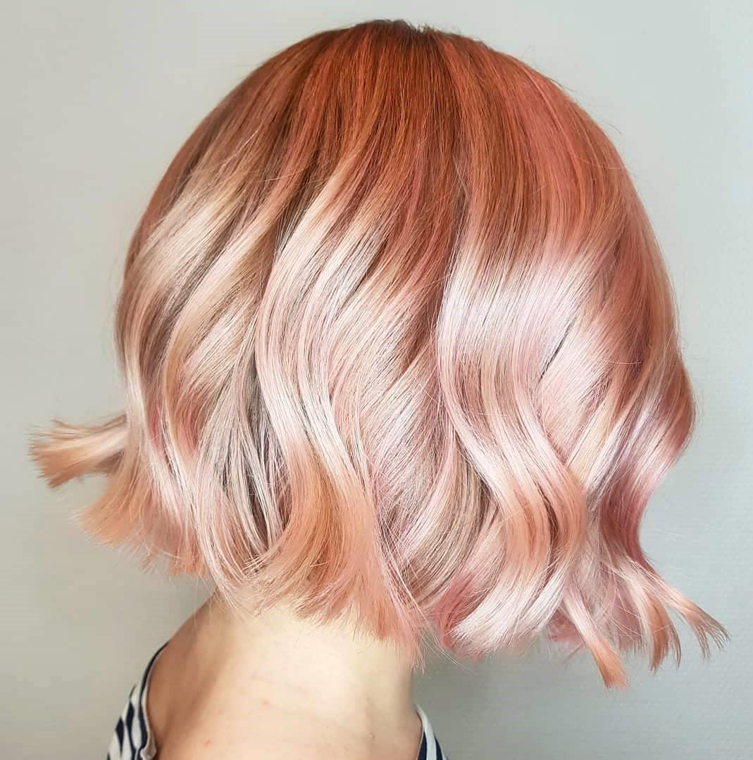 Metallic Rose Gold Color for Short Hair