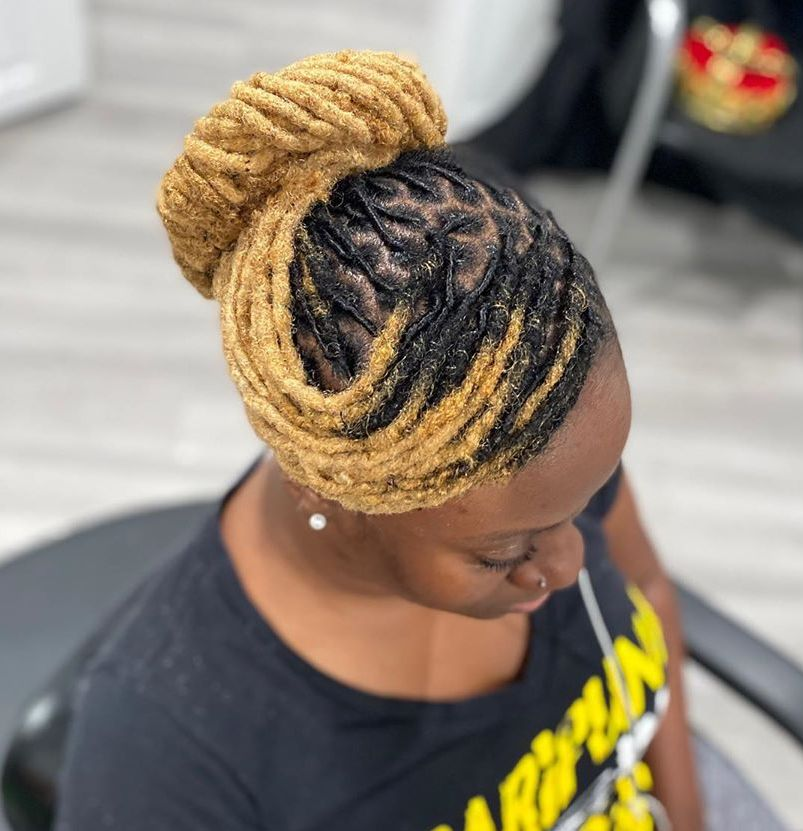 Updo for Small Blonde Dreads