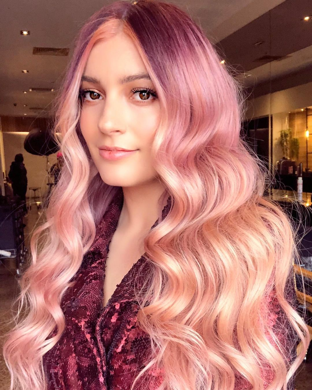 Long Burgundy and Rose Gold Hair