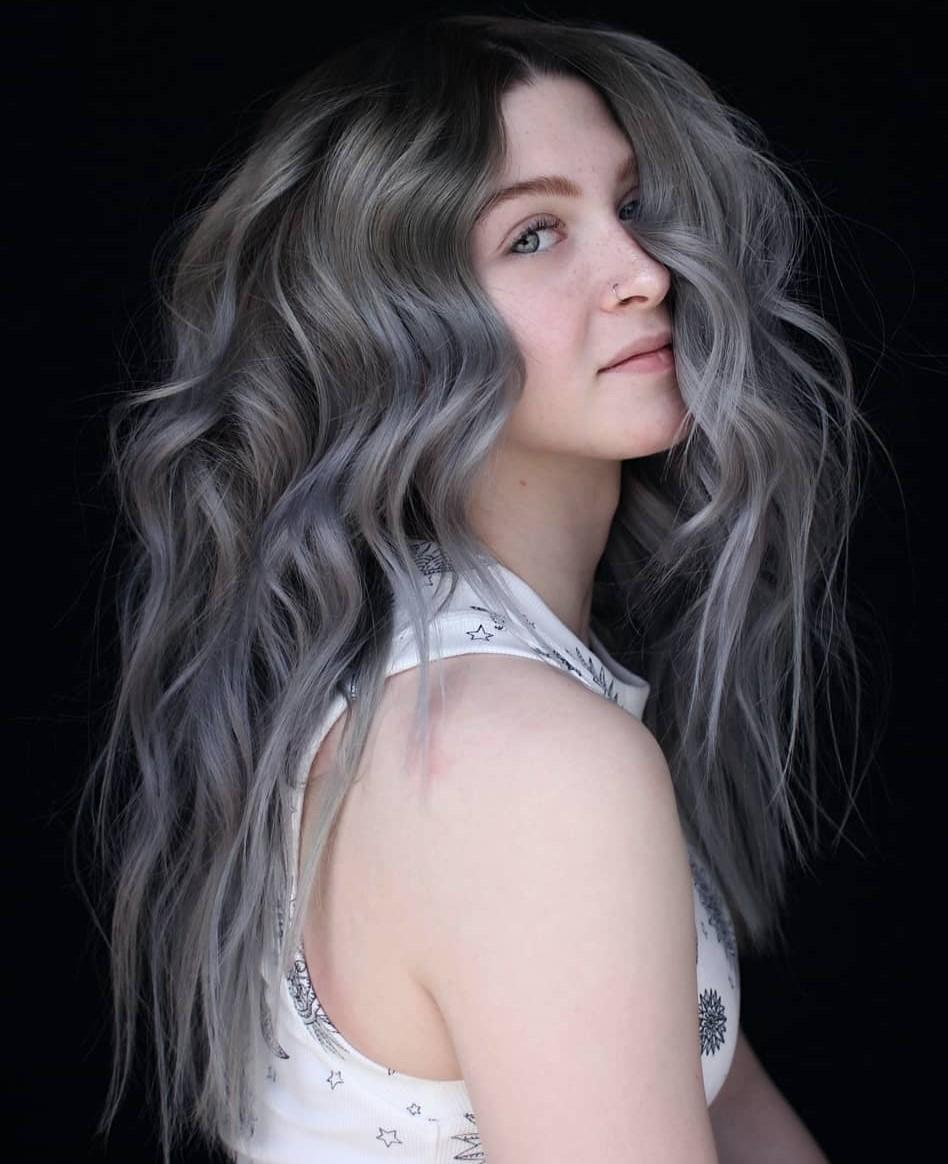 Dark Silver Gray Balayage for Brown Hair