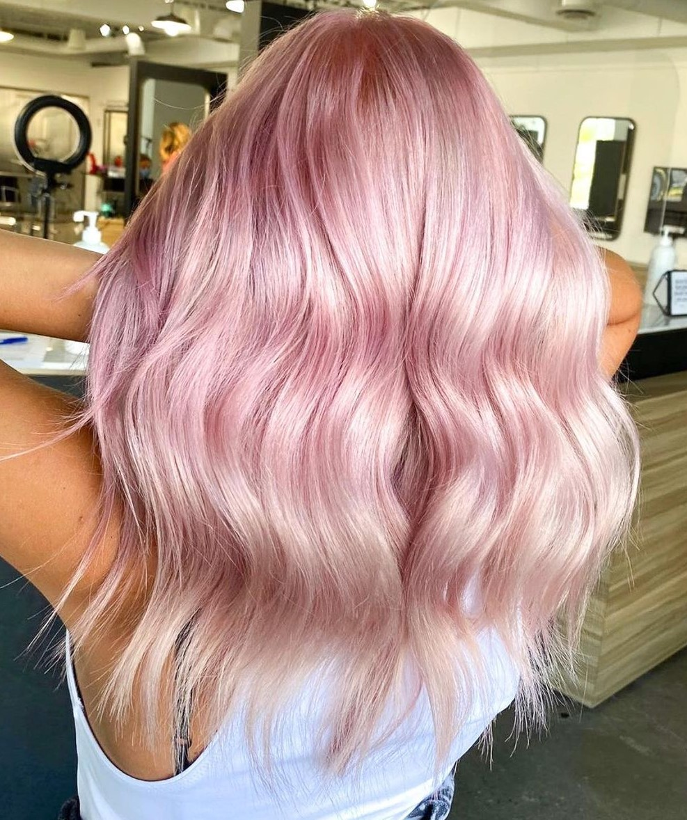 Long Pastel Rose Gold Hair for Tanned Skin