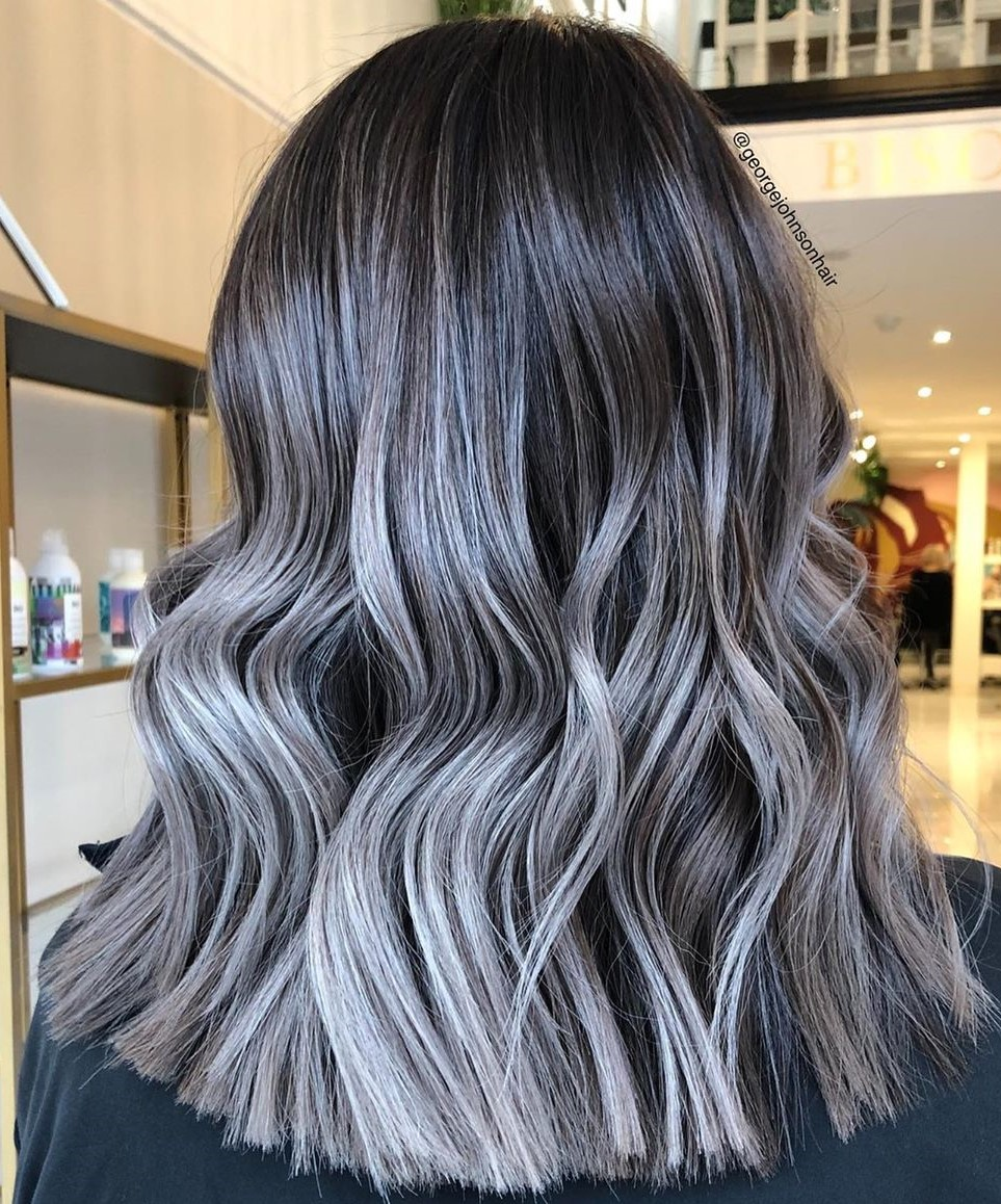 Dark Brown Hair with Metallic Silver Highlights
