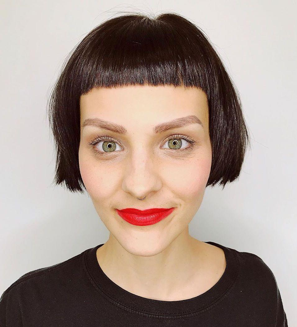 short brown hair with curtain bangs