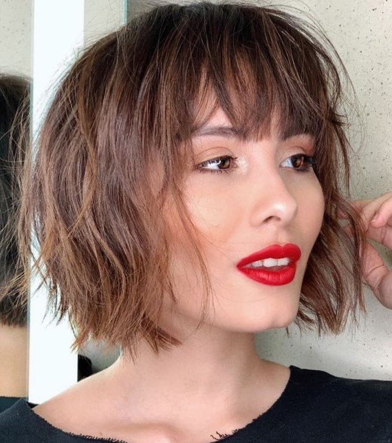 Feathery Bob with a Fringe for Thin Hair