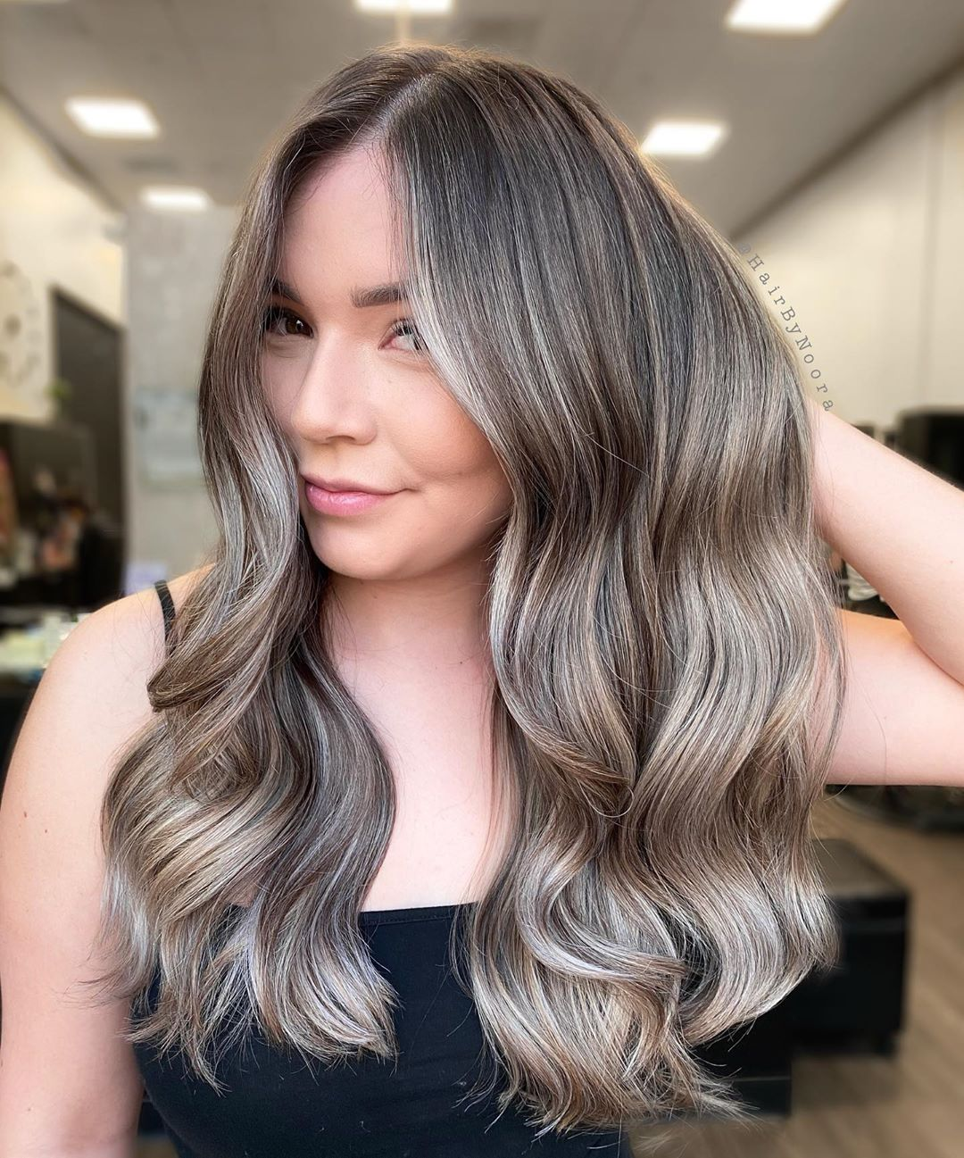 Silver Blonde Highlights for Dark Hair