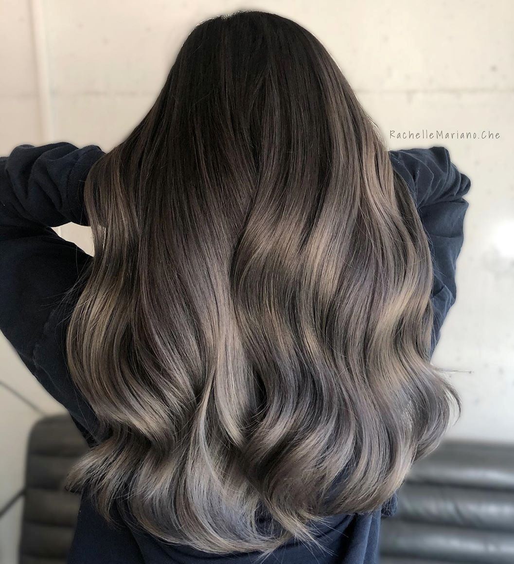 Silver Ombre Streaks in Brown Hair
