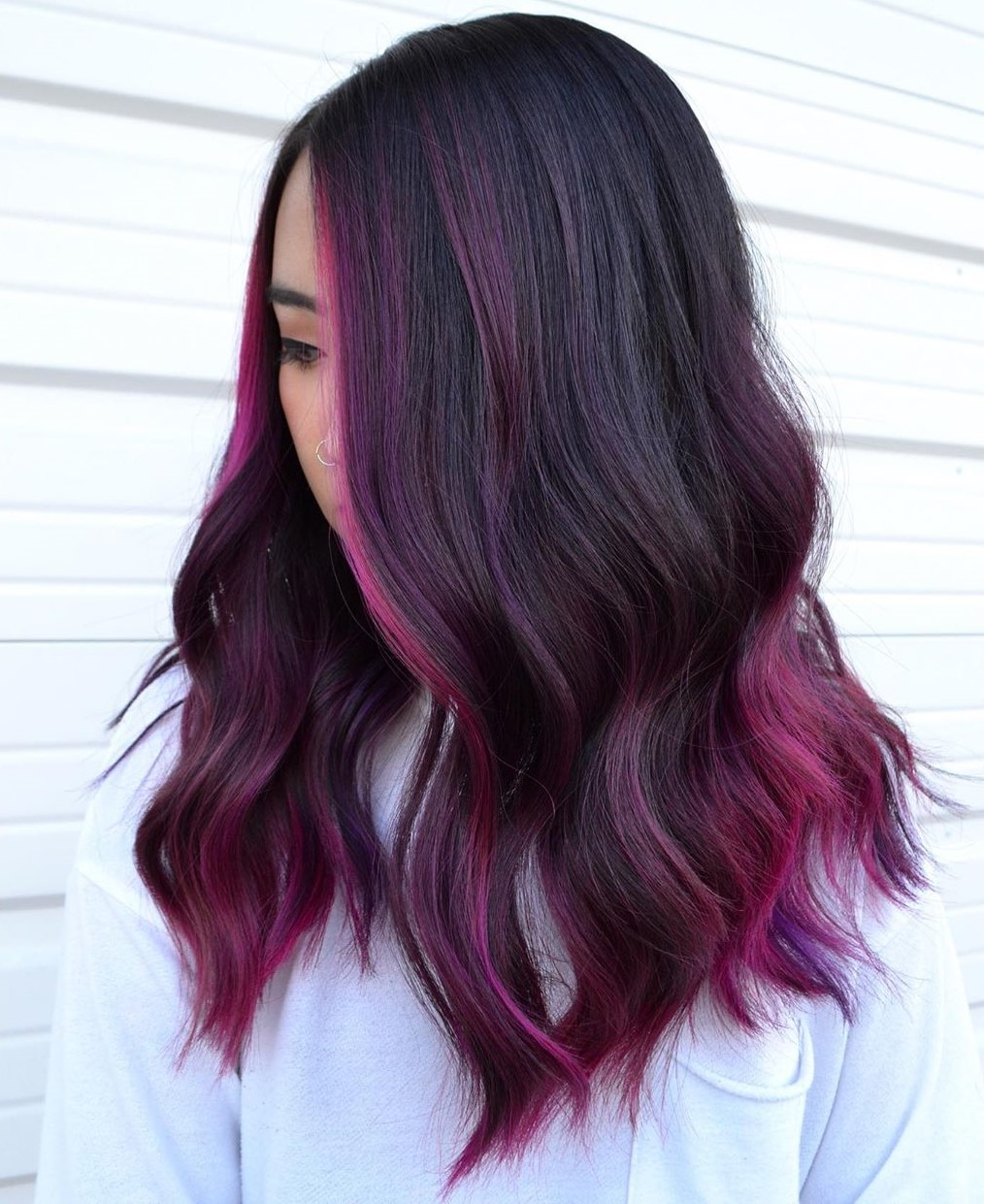 Red Purple Highlights for Dark Hair