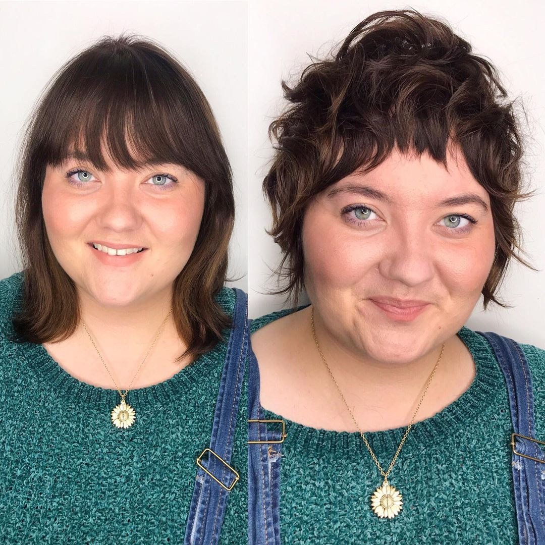 Short Piece-y Cut with Bangs for Round Faces