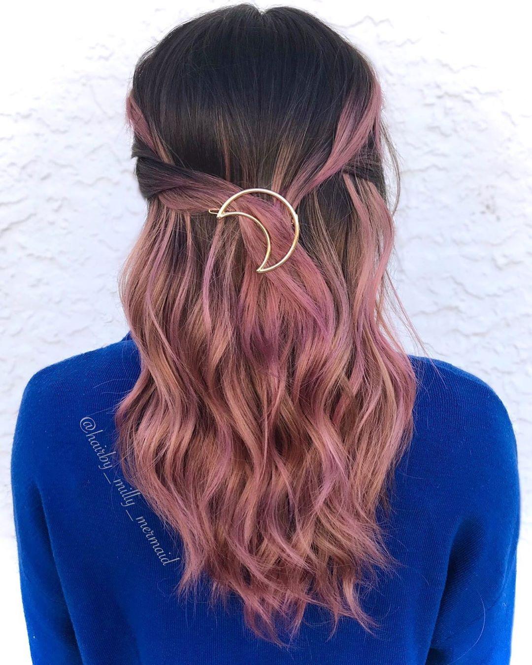 Rose Gold Tint Hair Color Idea