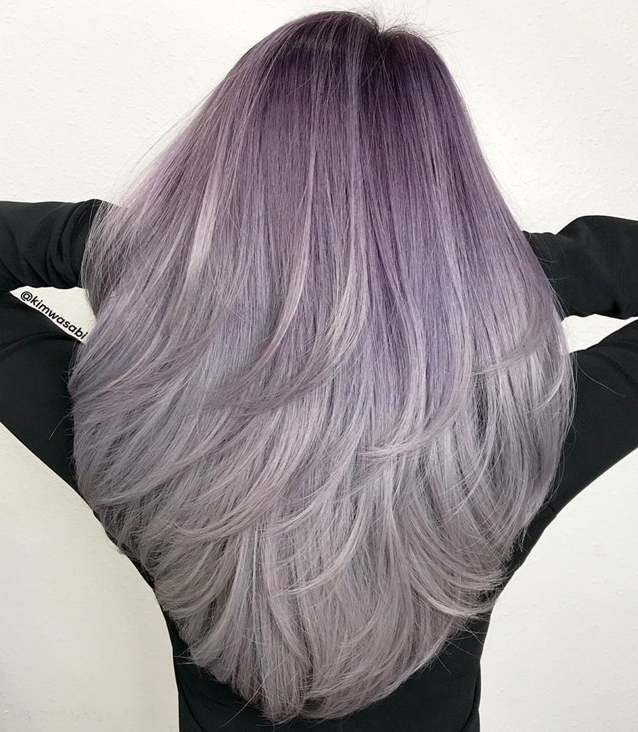 Lavender Ombre with Silver Highlights