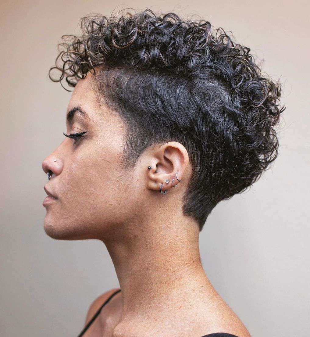 Edgy Super Short Cut for Curly Hair
