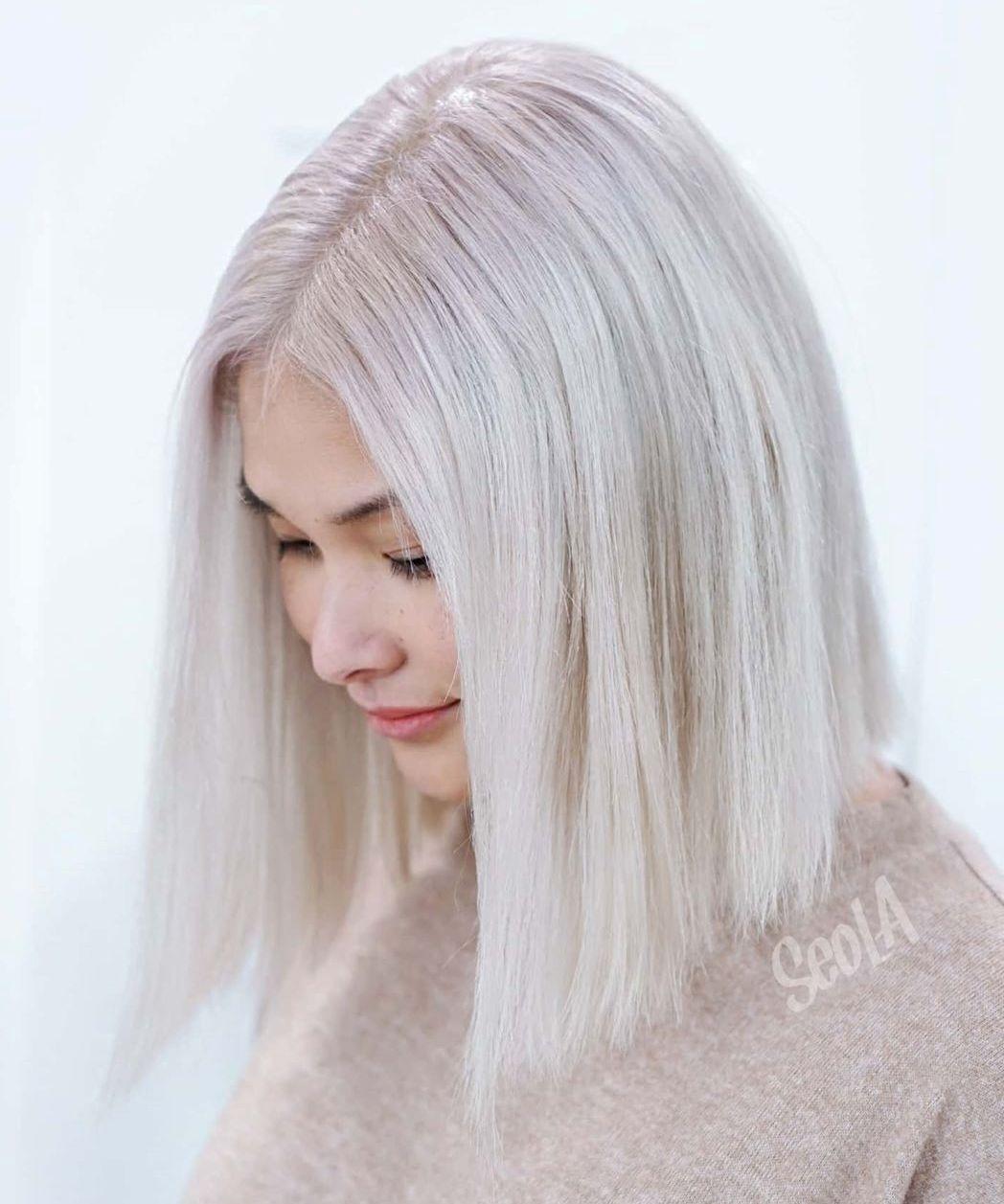 Sleek Glossy Silver Hair
