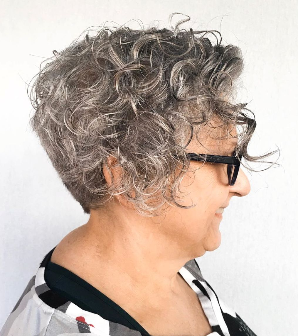 Short Curly Gray Hair for Older Ladies