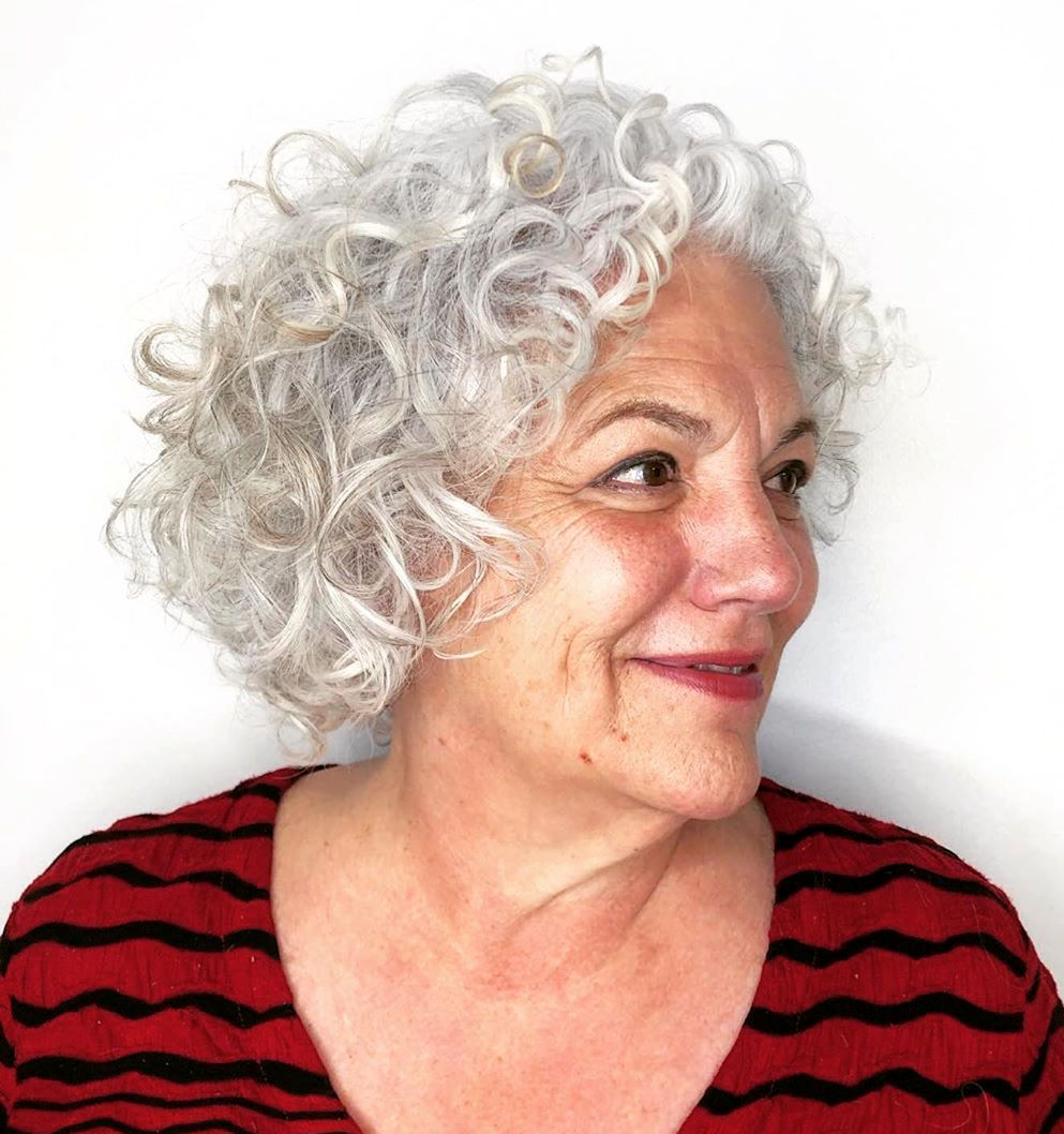 Over 60 White Curly Bob
