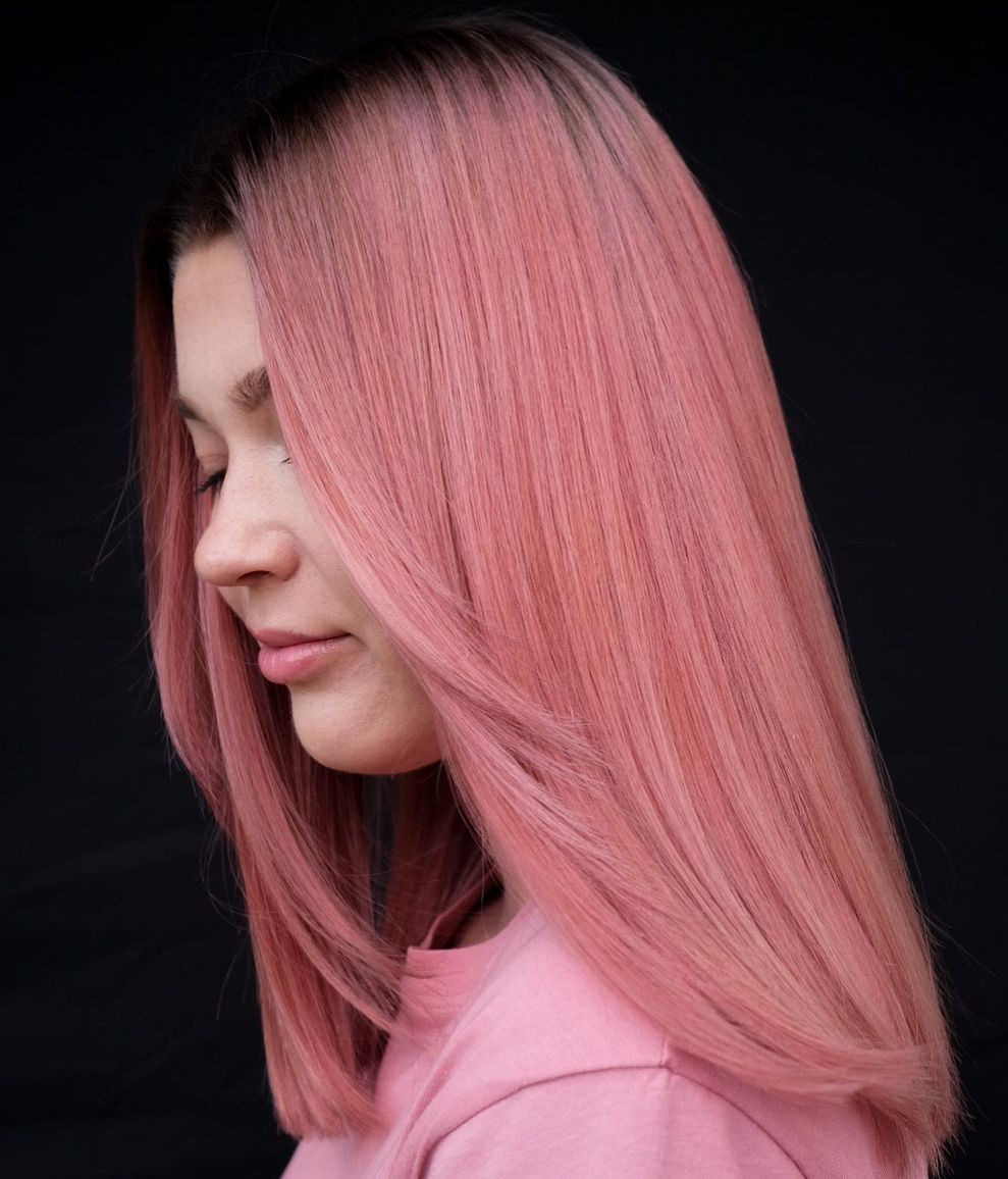 Delicate Rose Gold Hair Color