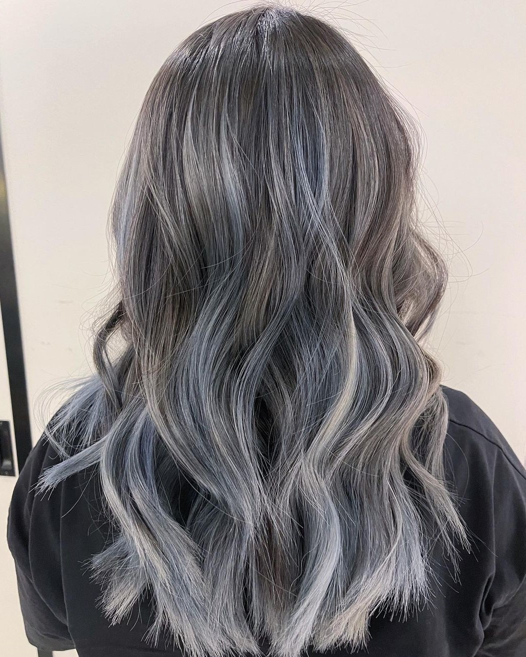 Brown Hair with Silver and Blue Highlights
