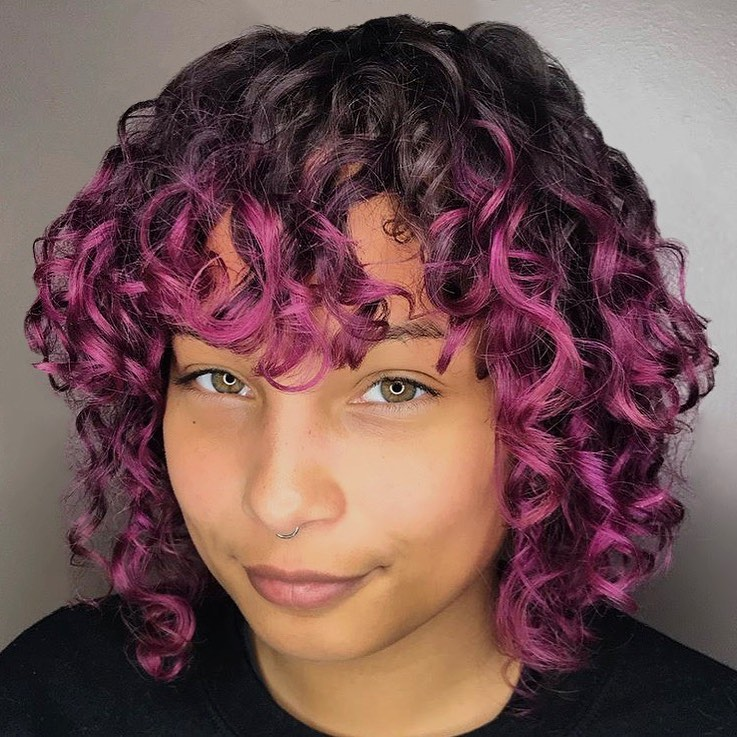 Curly Wavy Bob with Pink Ends