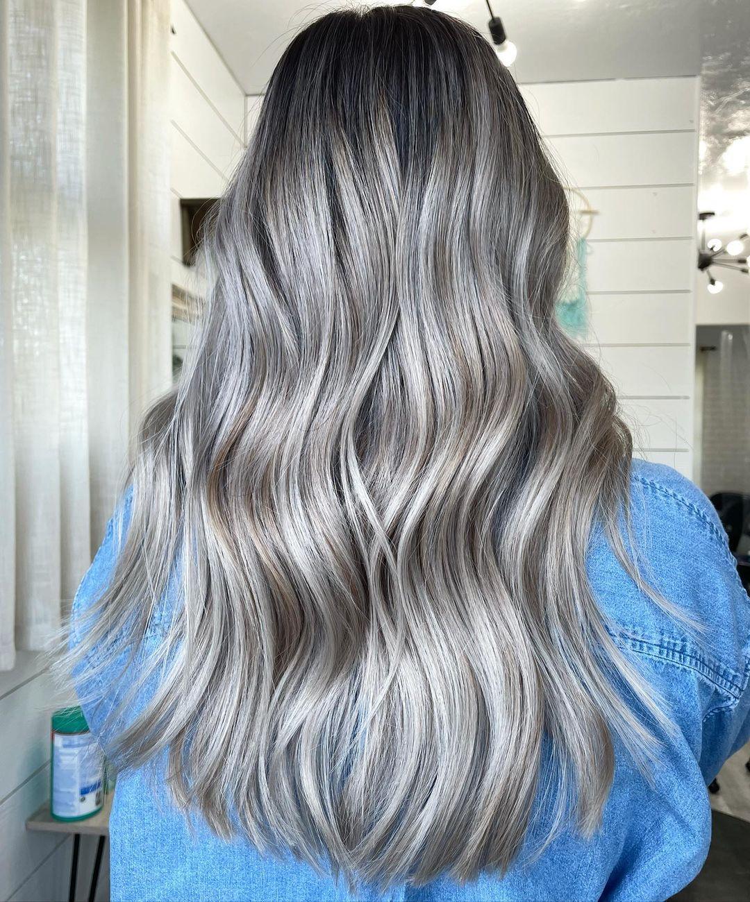 Dark Silver Hair with Brown Lowlights